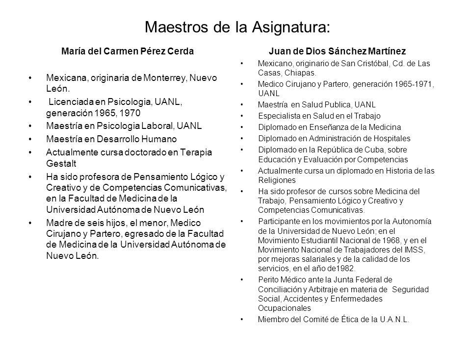 Maestros de la Asignatura: