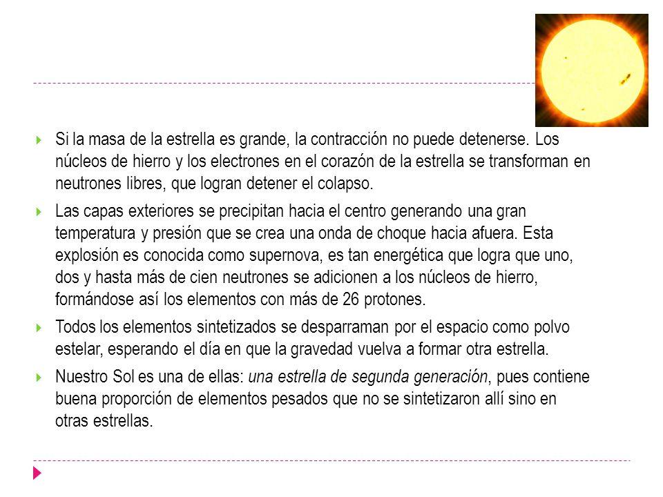 Si la masa de la estrella es grande, la contracción no puede detenerse
