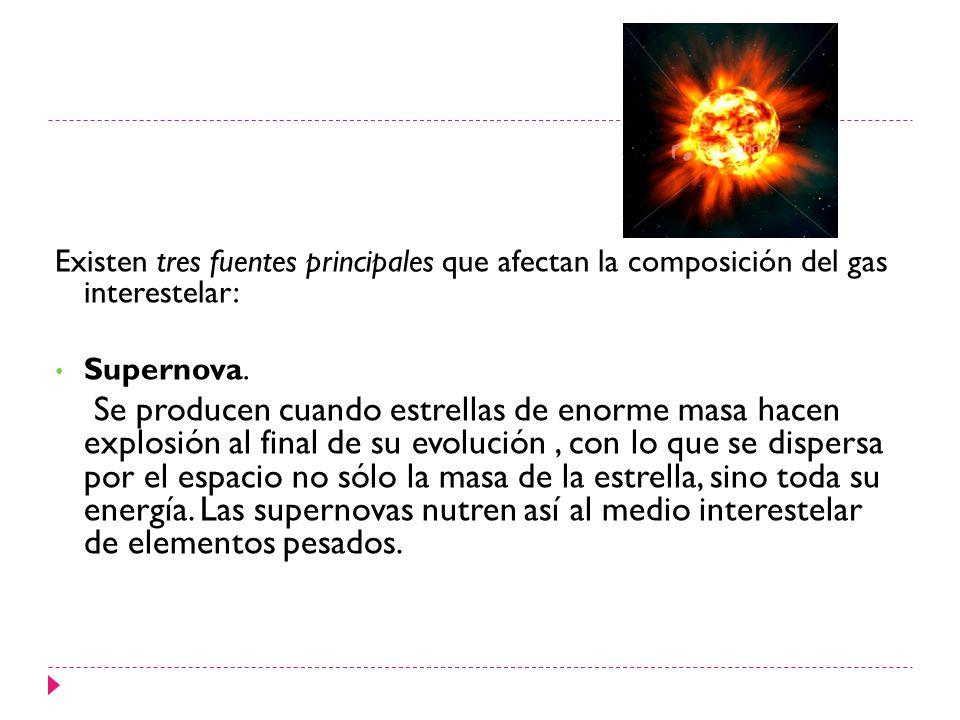 Existen tres fuentes principales que afectan la composición del gas interestelar: