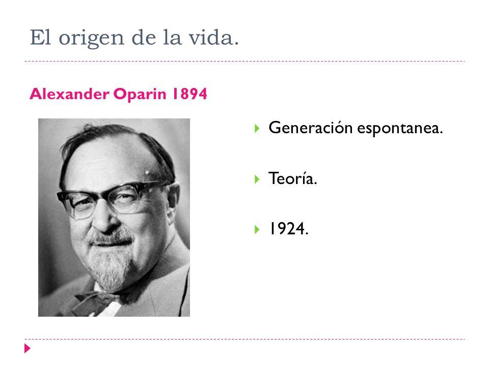 El origen de la vida. Generación espontanea. Teoría. 1924.