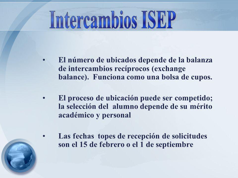 Intercambios ISEP El número de ubicados depende de la balanza de intercambios recíprocos (exchange balance). Funciona como una bolsa de cupos.