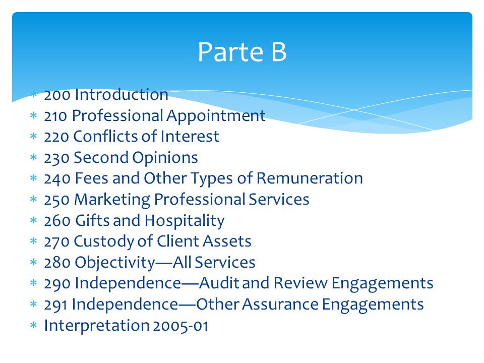 Parte B 200 Introduction 210 Professional Appointment