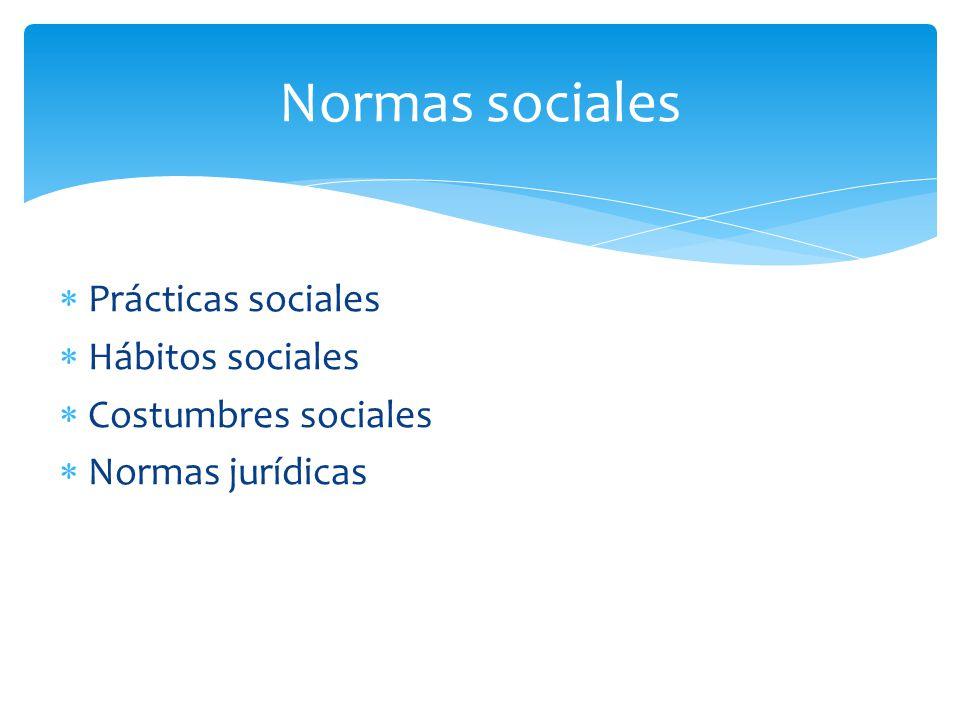 Normas sociales Prácticas sociales Hábitos sociales
