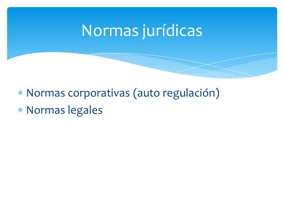 Normas jurídicas Normas corporativas (auto regulación) Normas legales