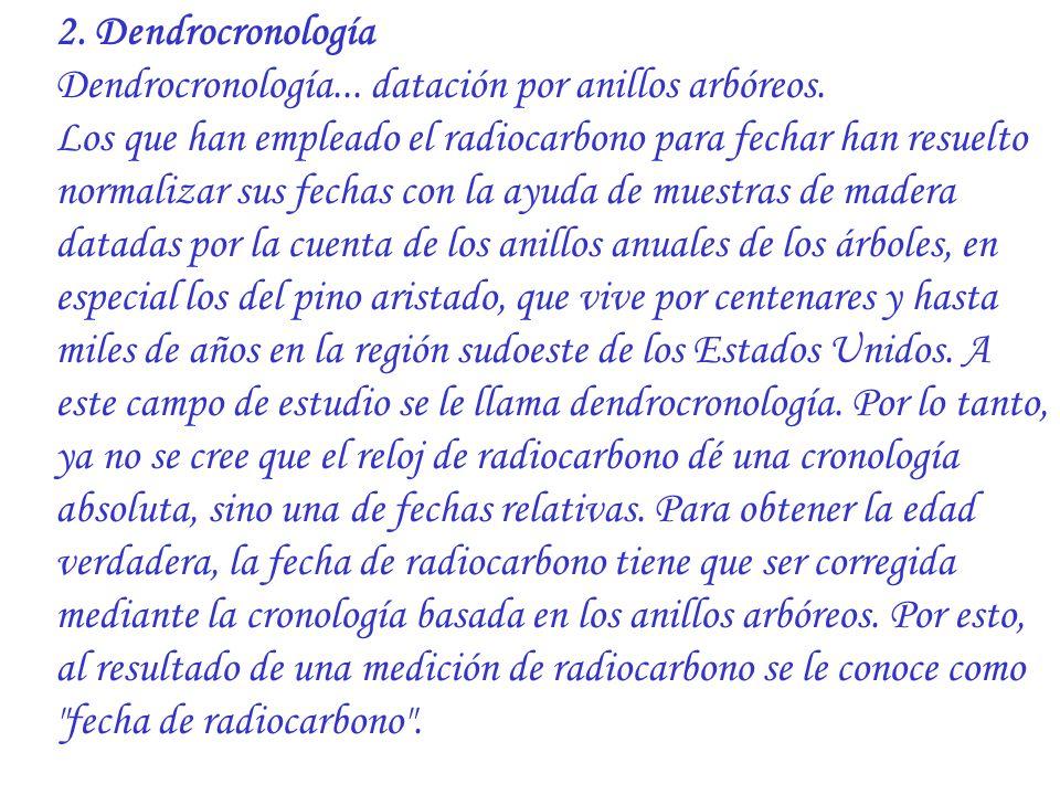 2. Dendrocronología Dendrocronología... datación por anillos arbóreos.
