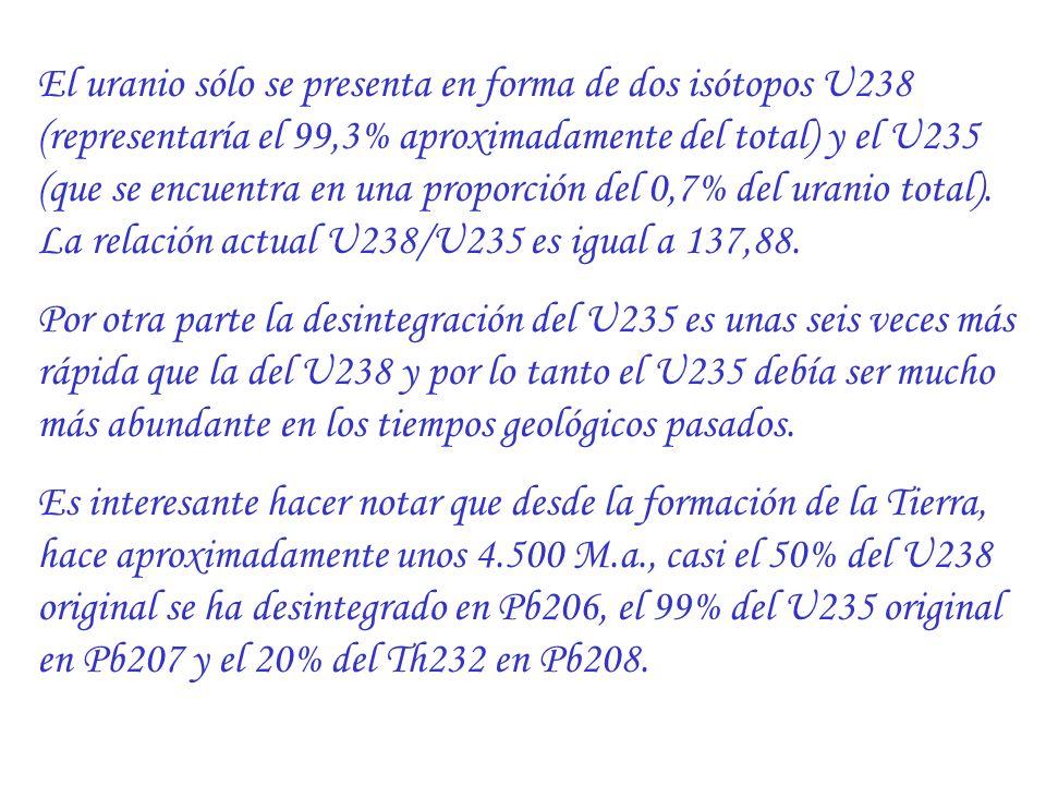 El uranio sólo se presenta en forma de dos isótopos U238 (representaría el 99,3% aproximadamente del total) y el U235 (que se encuentra en una proporción del 0,7% del uranio total). La relación actual U238/U235 es igual a 137,88.