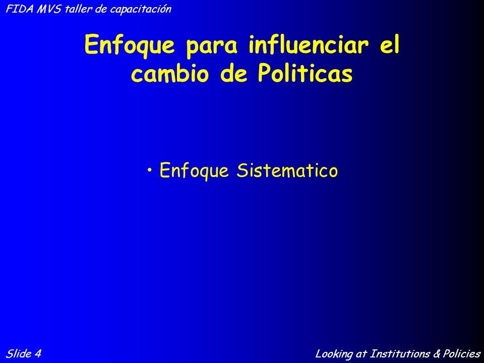 Enfoque para influenciar el cambio de Politicas