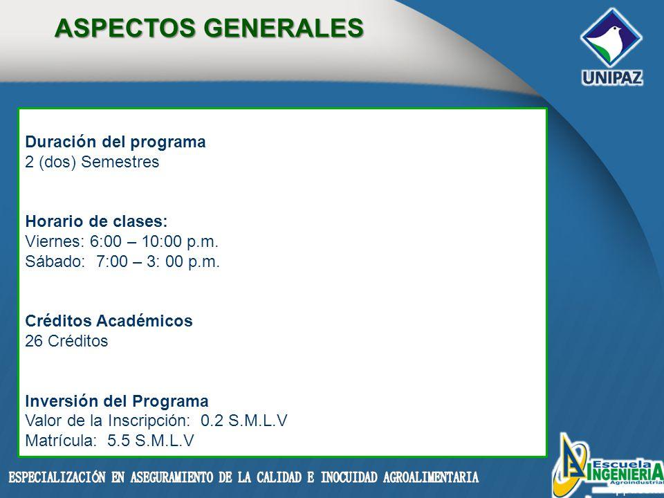 ASPECTOS GENERALES Duración del programa 2 (dos) Semestres