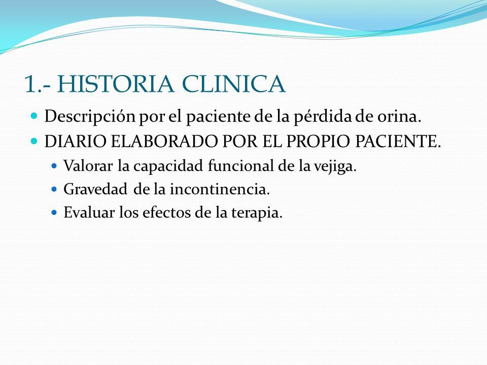 1.- HISTORIA CLINICADescripción por el paciente de la pérdida de orina. DIARIO ELABORADO POR EL PROPIO PACIENTE.
