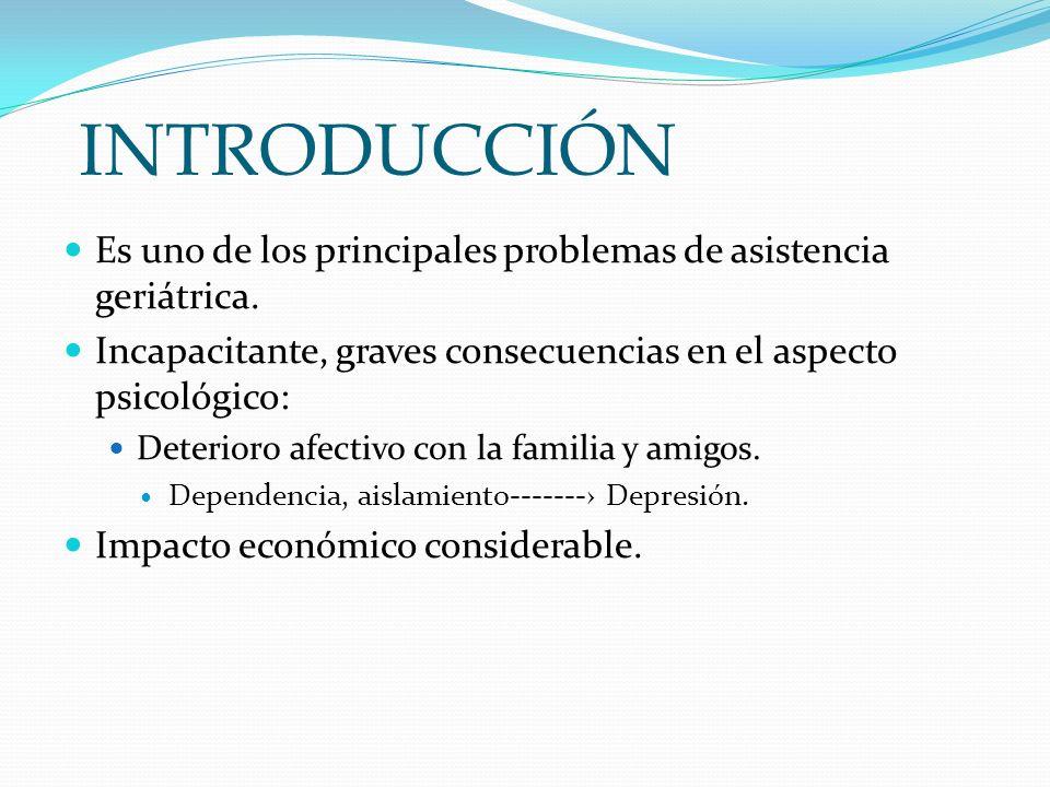 INTRODUCCIÓN Es uno de los principales problemas de asistencia geriátrica. Incapacitante, graves consecuencias en el aspecto psicológico: