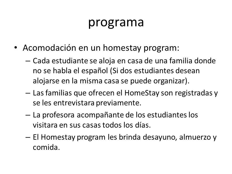 programa Acomodación en un homestay program:
