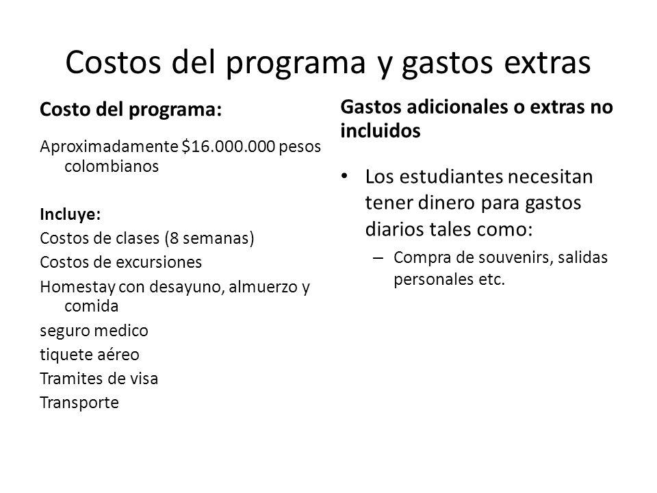 Costos del programa y gastos extras
