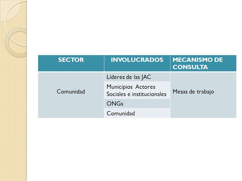 SECTOR INVOLUCRADOS. MECANISMO DE CONSULTA. Comunidad. Líderes de las JAC. Mesas de trabajo. Municipios Actores Sociales e institucionales.