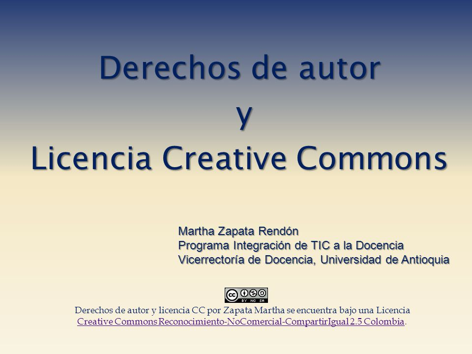 Derechos de autor y Licencia Creative Commons