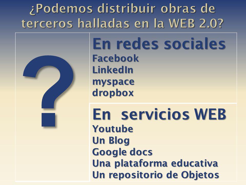 ¿Podemos distribuir obras de terceros halladas en la WEB 2.0