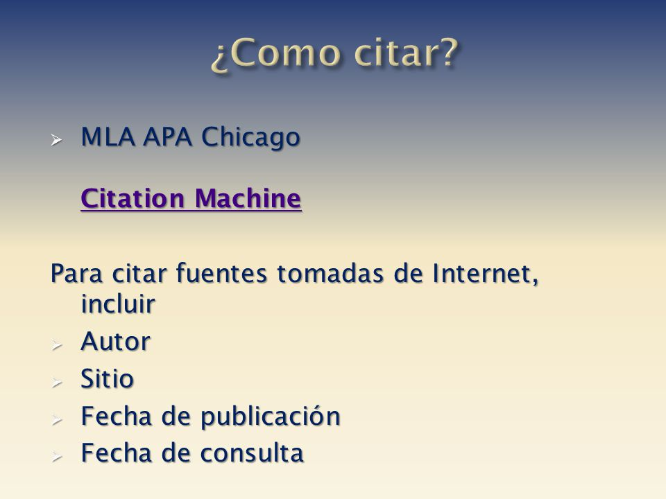¿Como citar MLA APA Chicago Citation Machine