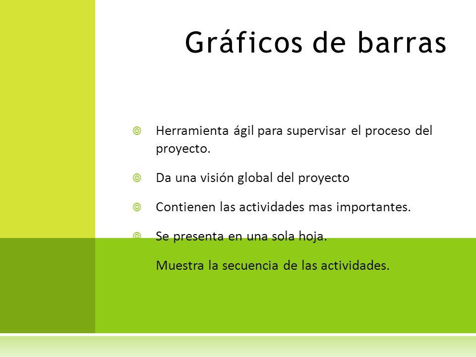 Gráficos de barras Herramienta ágil para supervisar el proceso del proyecto. Da una visión global del proyecto.