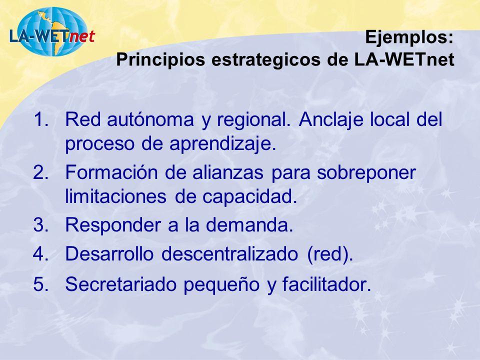 Ejemplos: Principios estrategicos de LA-WETnet