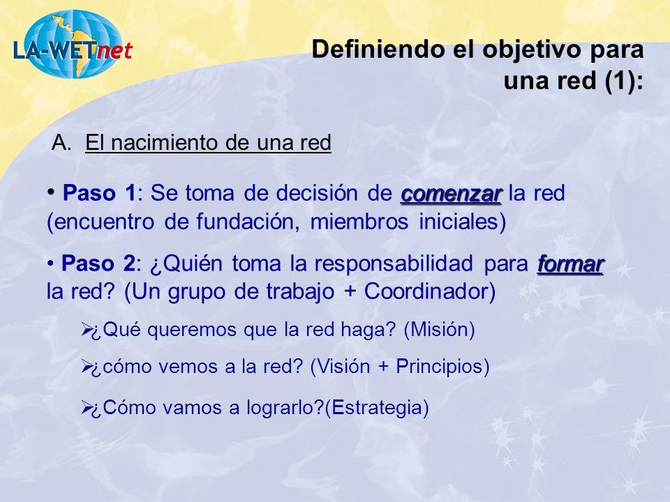 Definiendo el objetivo para una red (1):