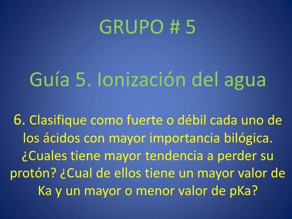 GRUPO # 5 Guía 5. Ionización del agua 6