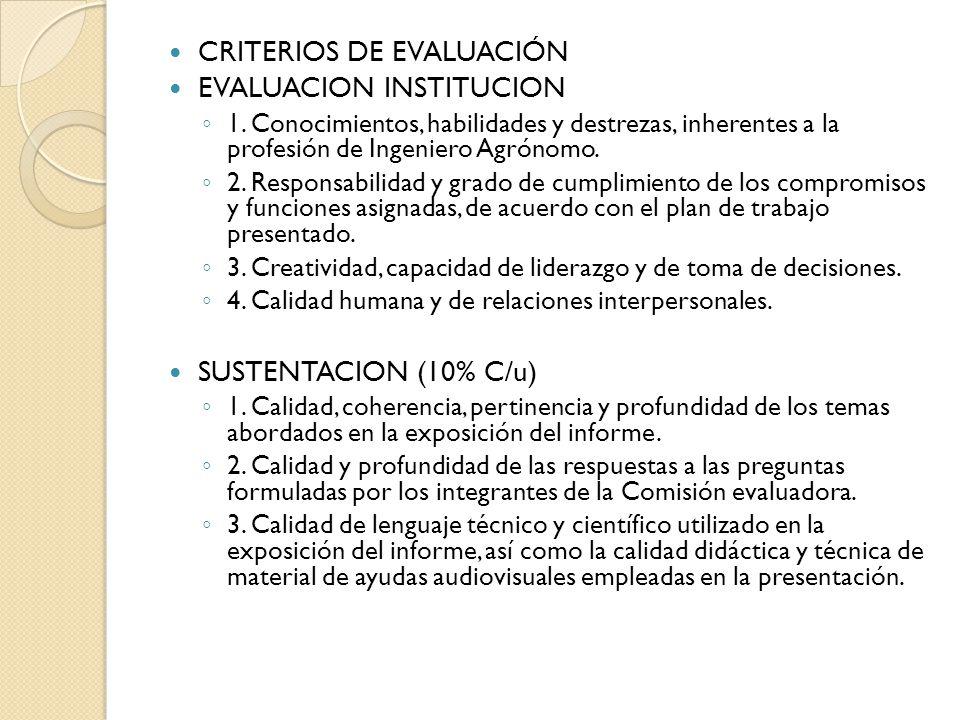 CRITERIOS DE EVALUACIÓN EVALUACION INSTITUCION