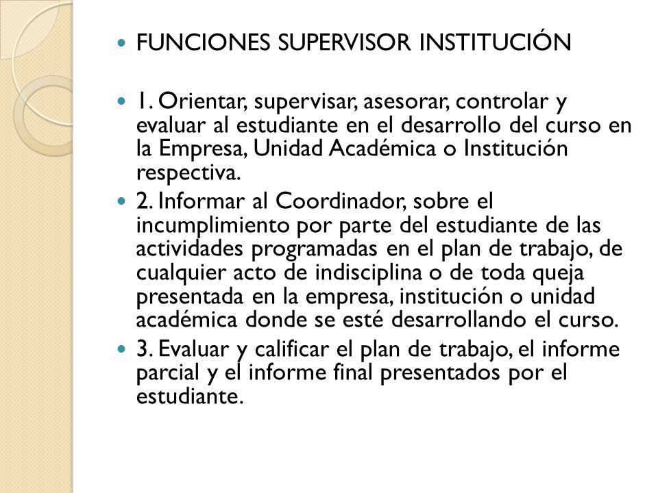 FUNCIONES SUPERVISOR INSTITUCIÓN
