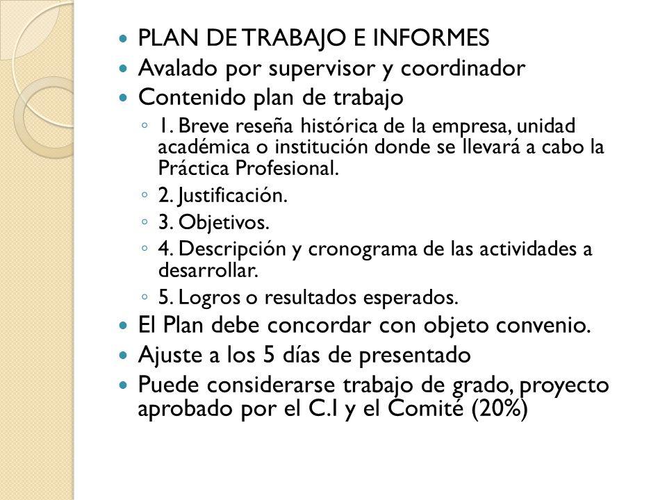 PLAN DE TRABAJO E INFORMES Avalado por supervisor y coordinador