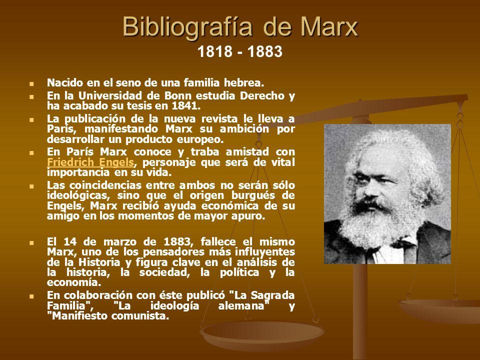 Bibliografía de Marx 1818 - 1883 Nacido en el seno de una familia hebrea. En la Universidad de Bonn estudia Derecho y ha acabado su tesis en 1841.