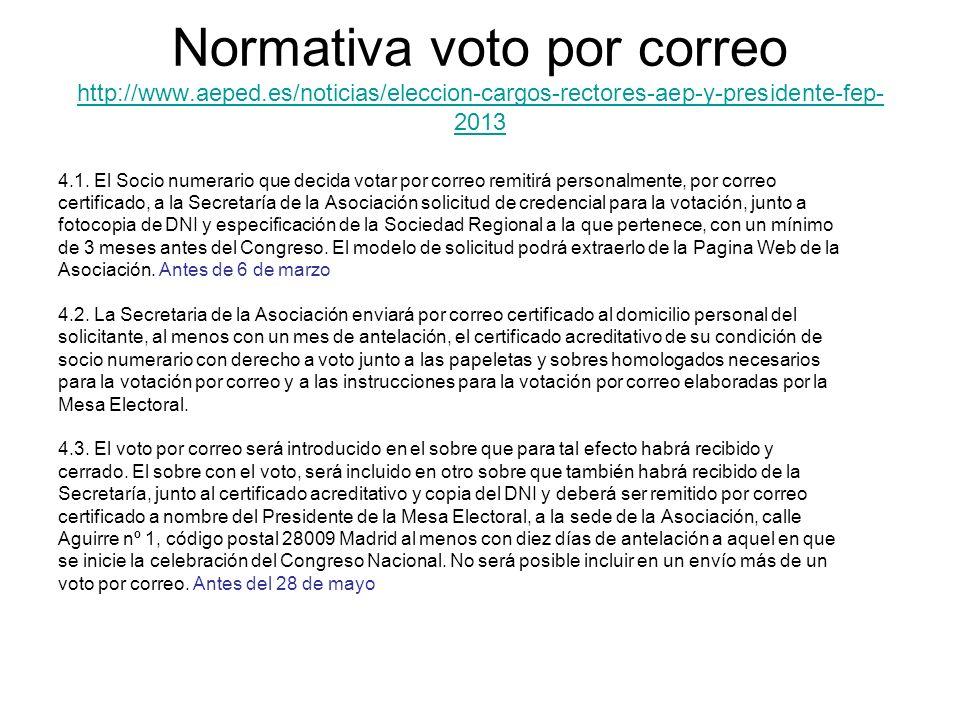 Normativa voto por correo http://www. aeped