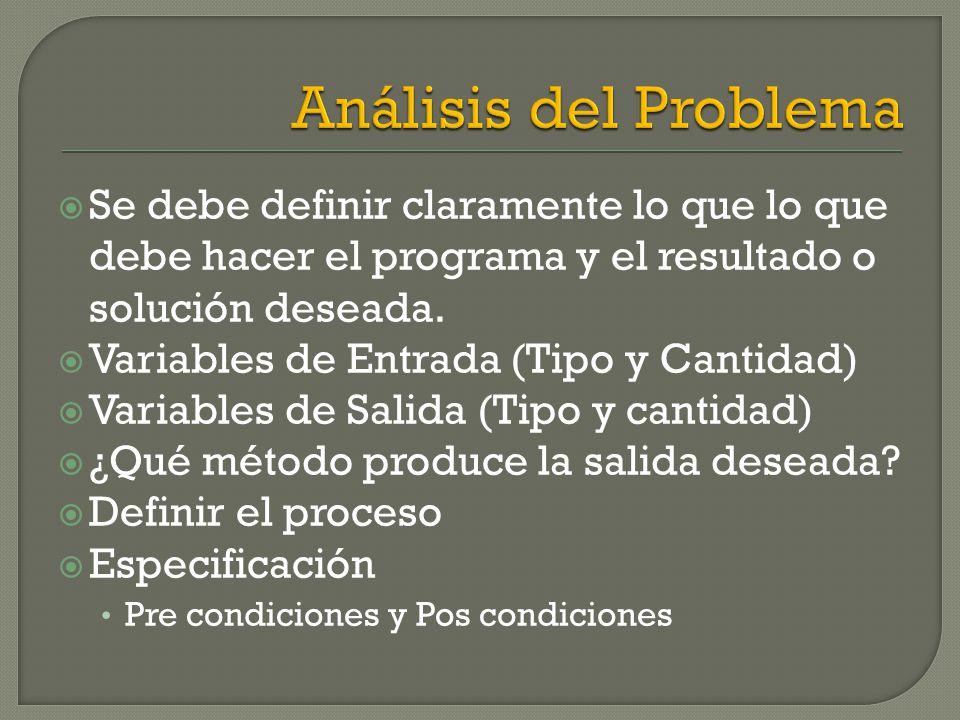 Análisis del Problema Se debe definir claramente lo que lo que debe hacer el programa y el resultado o solución deseada.