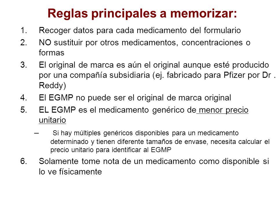 Reglas principales a memorizar: