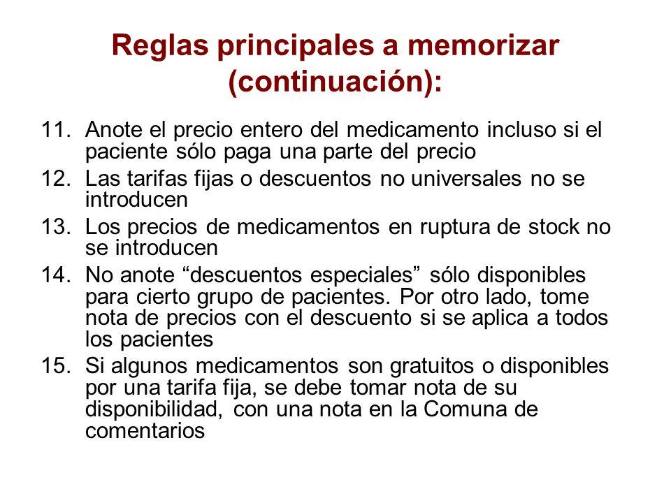 Reglas principales a memorizar (continuación):