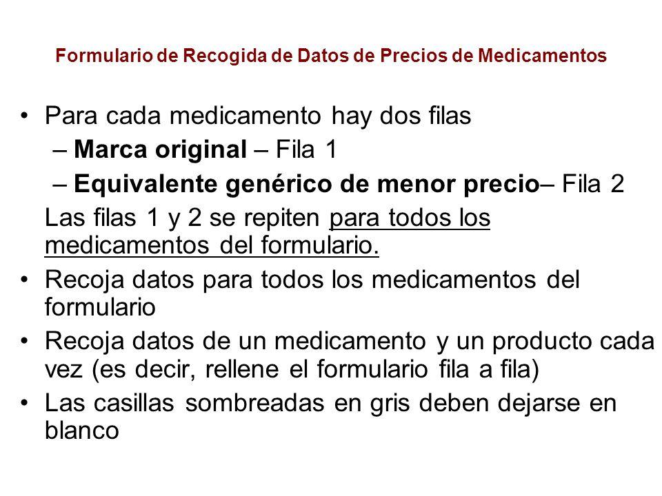 Formulario de Recogida de Datos de Precios de Medicamentos