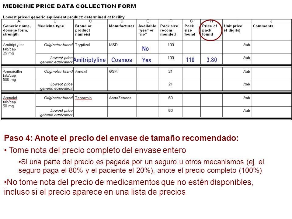 Paso 4: Anote el precio del envase de tamaño recomendado: