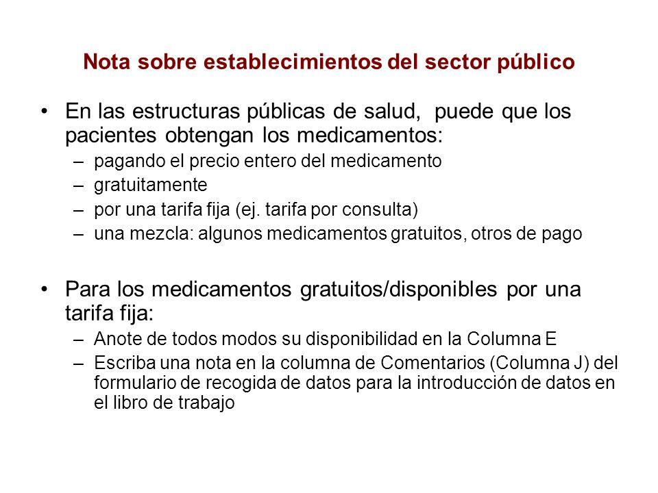 Nota sobre establecimientos del sector público