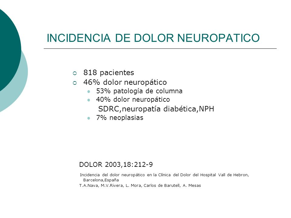 INCIDENCIA DE DOLOR NEUROPATICO