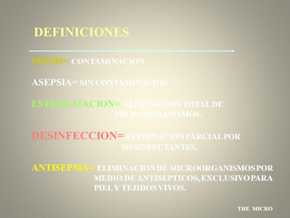 DEFINICIONES DESINFECCION= ELIMINACION PARCIAL POR