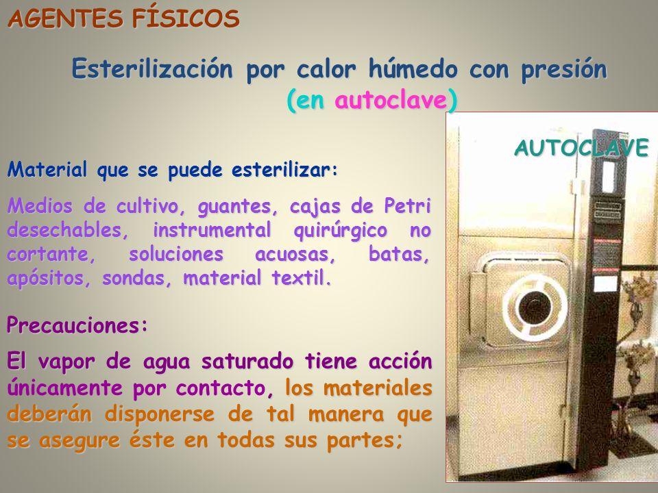 Esterilización por calor húmedo con presión (en autoclave)
