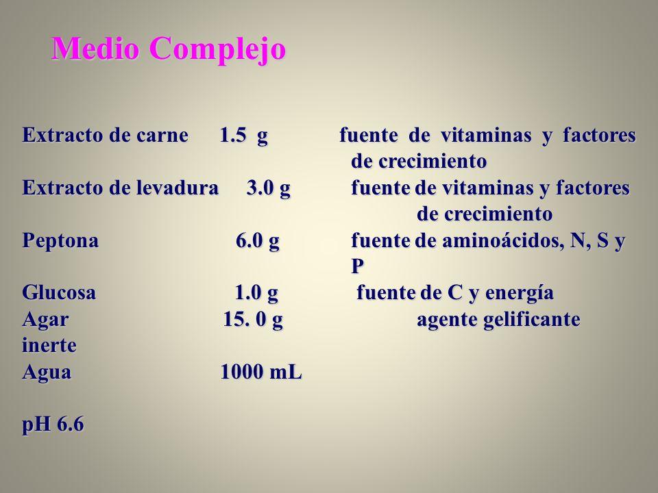 Medio Complejo Extracto de carne 1.5 g fuente de vitaminas y factores de crecimiento.
