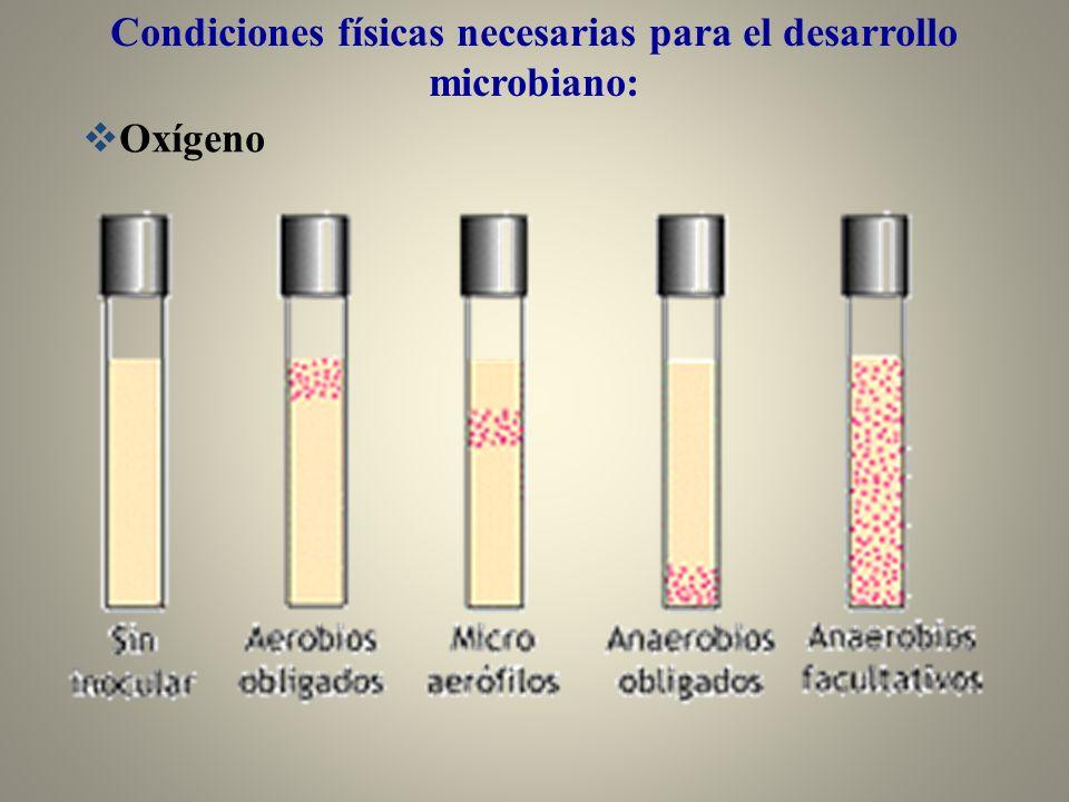 Condiciones físicas necesarias para el desarrollo microbiano: