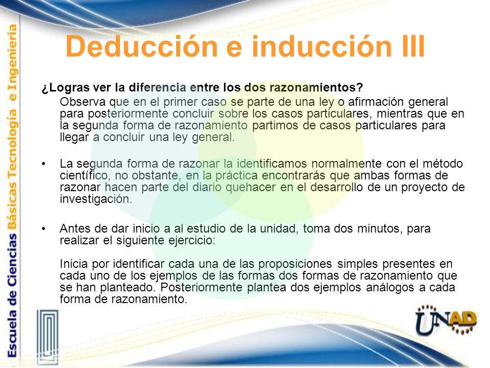 Deducción e inducción III