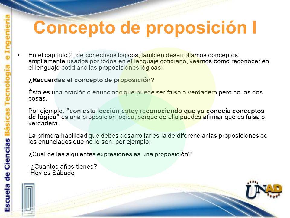 Concepto de proposición I