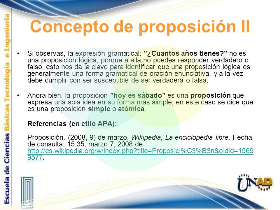 Concepto de proposición II