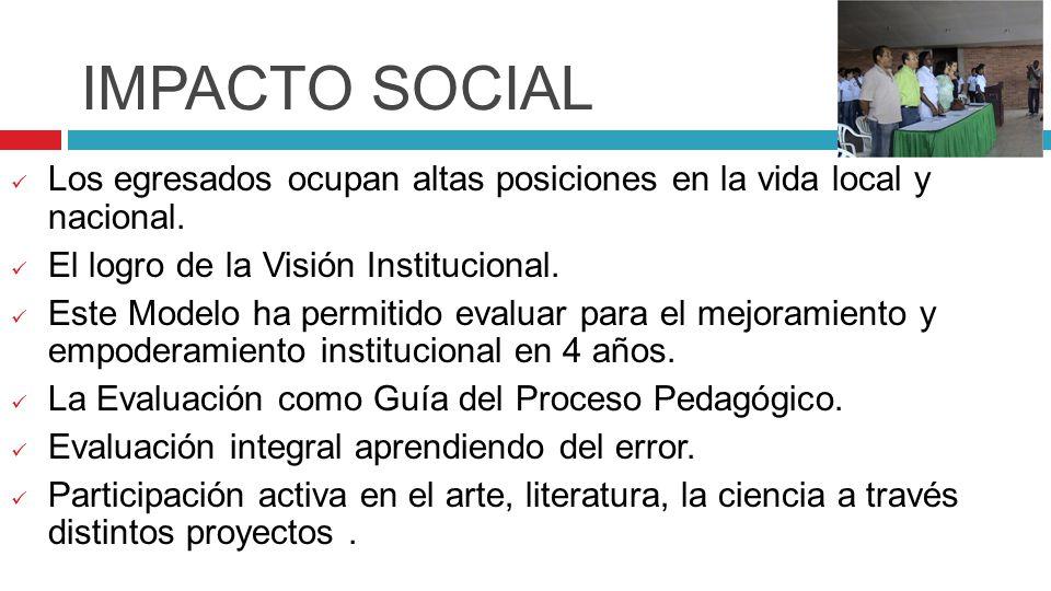 IMPACTO SOCIAL Los egresados ocupan altas posiciones en la vida local y nacional. El logro de la Visión Institucional.