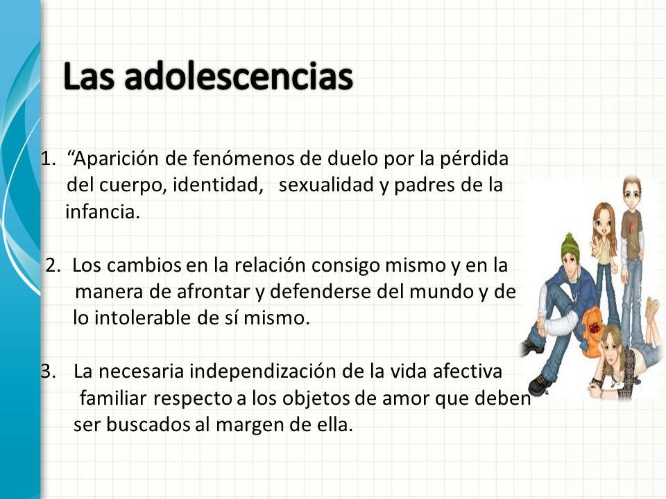 Las adolescencias 1. Aparición de fenómenos de duelo por la pérdida del cuerpo, identidad, sexualidad y padres de la.