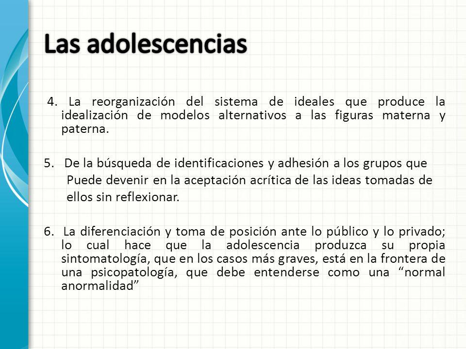 Las adolescencias 4. La reorganización del sistema de ideales que produce la idealización de modelos alternativos a las figuras materna y paterna.