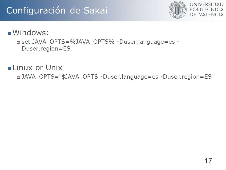Configuración de Sakai