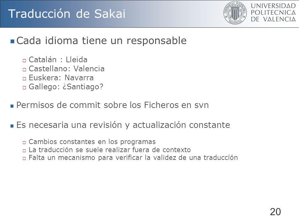 Traducción de Sakai Cada idioma tiene un responsable