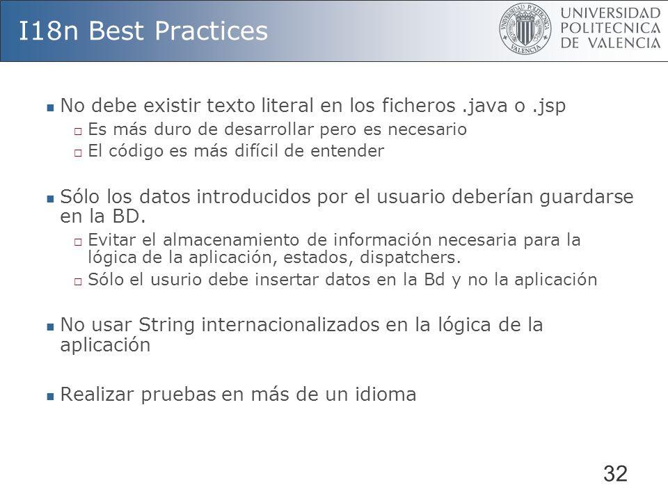 I18n Best PracticesNo debe existir texto literal en los ficheros .java o .jsp. Es más duro de desarrollar pero es necesario.