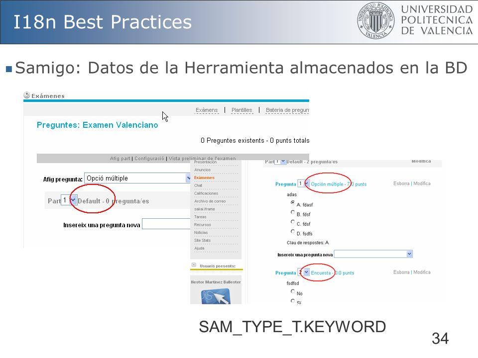 I18n Best Practices Samigo: Datos de la Herramienta almacenados en la BD SAM_TYPE_T.KEYWORD